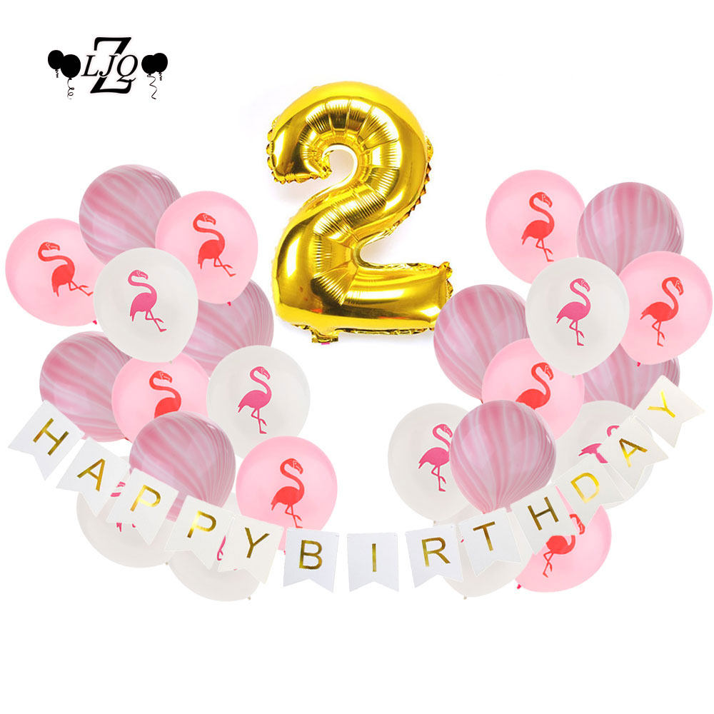 ZLJQ 2nd Birthday Decoration Party Supplies Foil Balloons Number 1 2 3 Old Year Happy Birthday Black Pink Gold Balloon Banner