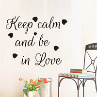 Keep Calm And Be In Love Quote Wall Sticker Beautiful Heart Shaped Art Mural For Baby