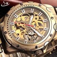 SHENHUA Bronze Skeleton Mechanical Watch Men Automatic Watch Sport Luxury Top Brand Stainless Watch Vintage Relogio