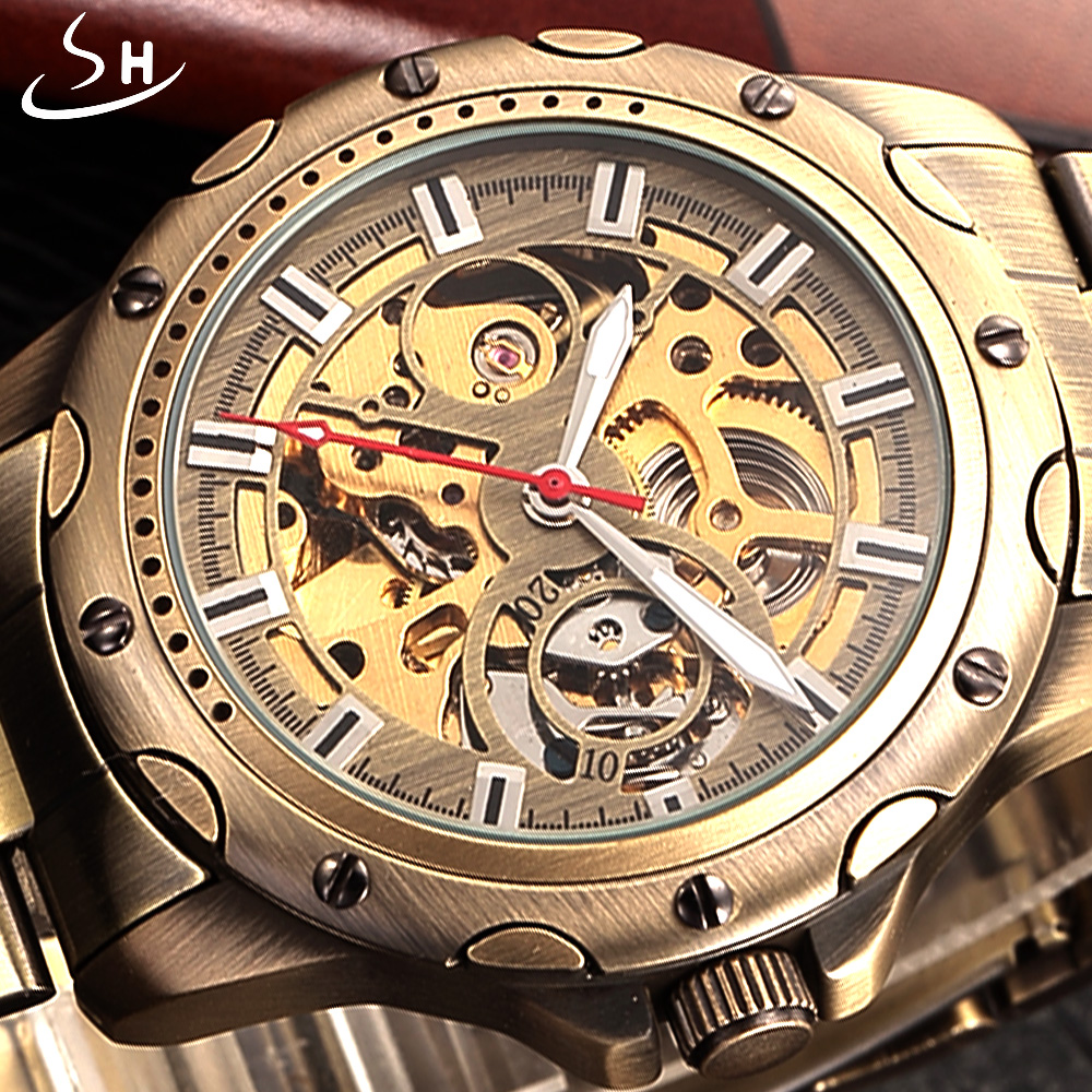 SHENHUA Bronze Skeleton Mechanical Watch Men Automatic Watch Sport Luxury Top Brand Stainless Watch Vintage Relogio Masculino