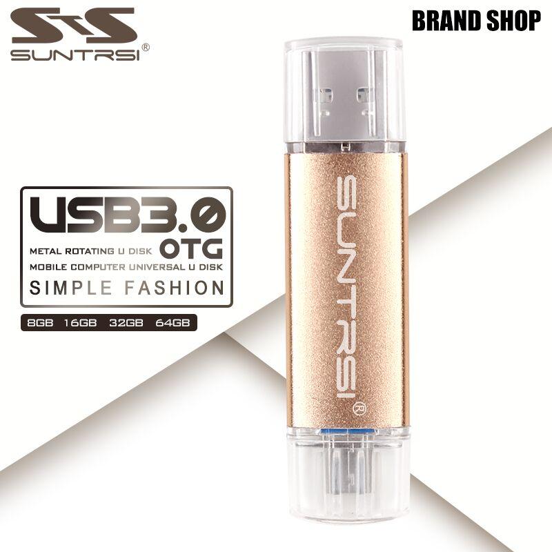 Suntrsi USB-Stick 64 GB OTG USB 3.0 High-Speed metall USB-Stick Pen Drive Kundenspezifische Logo USB-Stick 64 GB