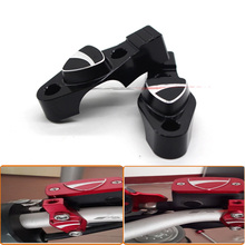 For DUCATI MONSTER 696 695 796 Motorcycle CNC Billet Aluminum Handlebar bar Clamp with Mirror adapter 3D Logo Black