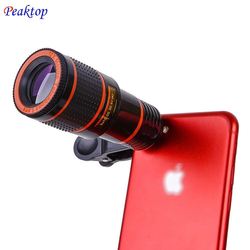 Универсальный 8x 12xoptical телескопа Объективы для фотоаппаратов клип телескоп мобильного телефона для iphone8 для Samsung для HTC для Huawei Xiaomi