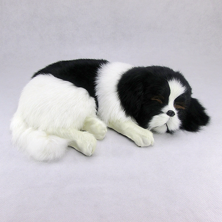 big creative simulation sleeping dog toy handicraft lifelike white and black dog doll gift about 35x9x25cm big new simulation duck toy lovely white lifelike duck about 25x14x38 5cm