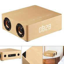 Q5C Clock Edition Wooden Bluetooth Speaker Home Four Speakers with Time Display and Full