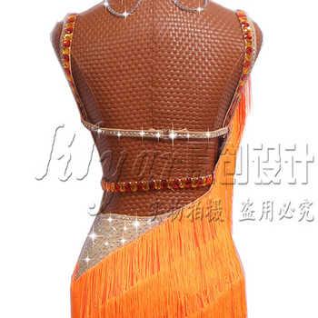 Sexy Latin Dance Dresses For Ladies Orange Cocktail Braces Dresses Young Female Women Ballroom Tutu Tassel dresses DM1035