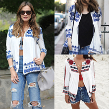 Women Vintage Boho Jacket Loose Retro Pleated Coat Long Sleeve Casual Outwear Tops