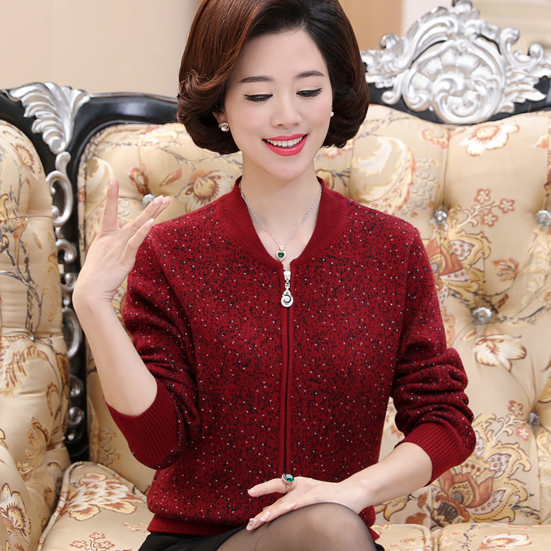 Middle Aged Women Spring Autumn Cashmere Sweater 2019 Long Sleeve Cardigan Slim Zipper Loose Knit Sweater