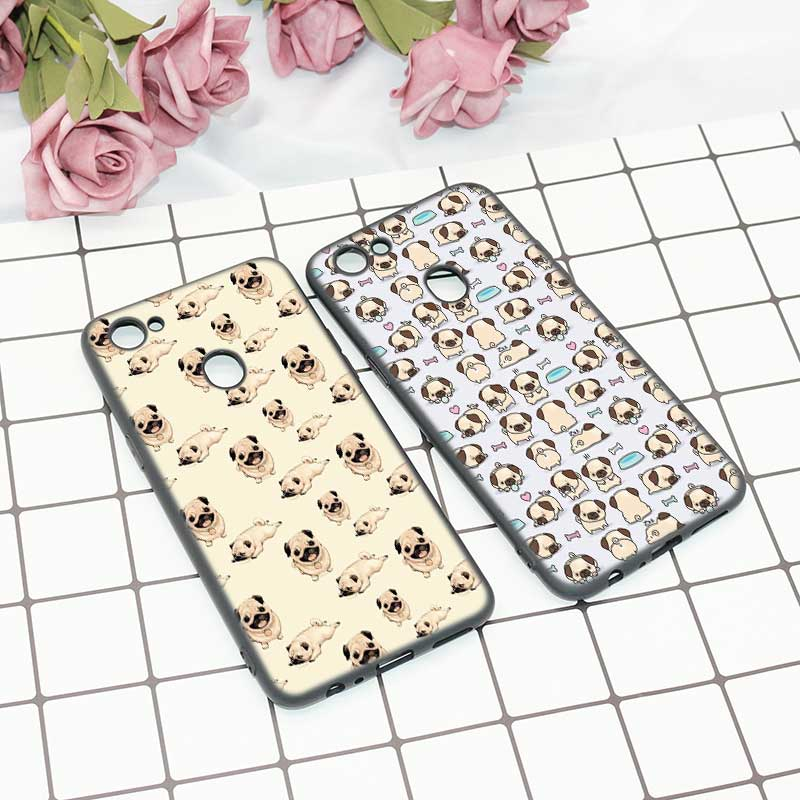 Black Soft Silicone High Quality Phone Cases Puppies Cubs Dogs Poodle Pug Doggy Style For OPPO F5 F7 Phone Cases Covers