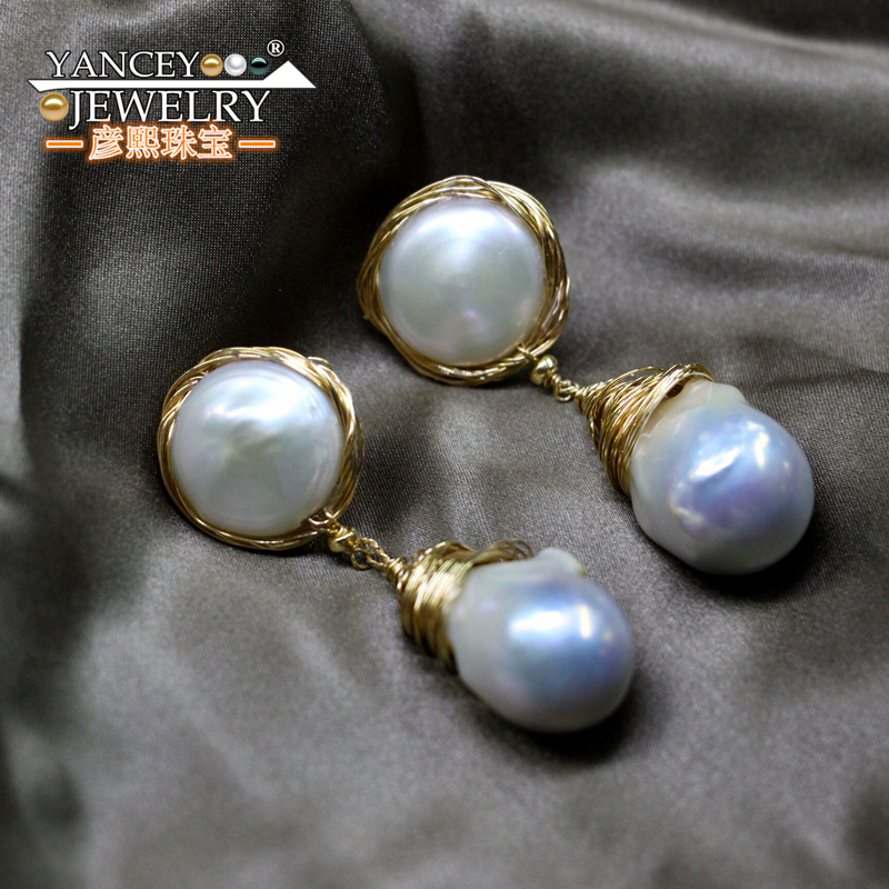 2018 New YANCEY Original design, Natural Freshwater Baroque Pearl Drop Earrings for women with 9K gold tassel Fine Drop Earrings three button design drop earrings