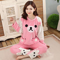 Special Offer XXXL Women Warm Pajamas Sets Thick Flannel Cute Cartoon Coral Fleece Spring Autumn Winter Sleepwear Lounge Z0007