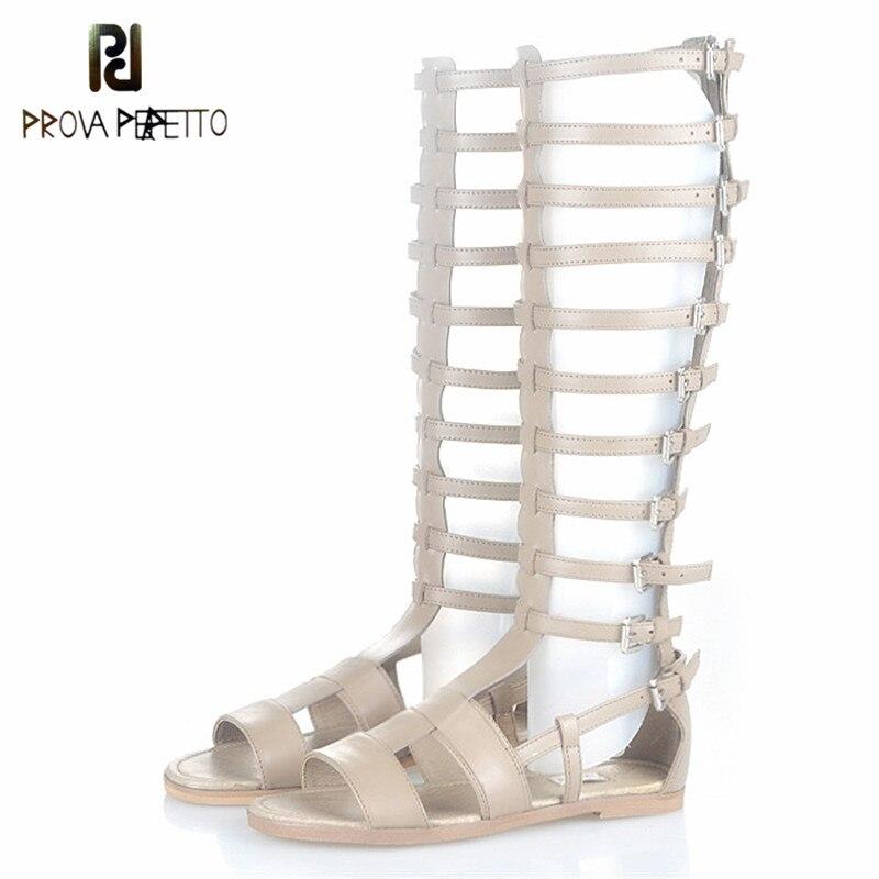 Prova Perfetto Gladiator Style Fish Bone Design Strap Flat Bottom Woman Sandals Fashion Genuine Leather Peep