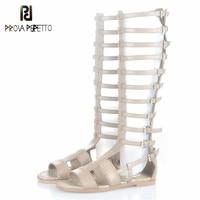 Prova Perfetto Gladiator Style Fish Bone Design Strap Flat Bottom Woman Sandals Fashion Genuine Leather Peep Toe Boot Sandals