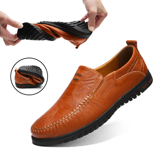 Người đàn ông Giày da Chính Hãng Thoải Mái Người Đàn Ông Giản Dị Giày Dép Giày Dép Chaussures Căn Hộ Cho Nam Giới Trượt Trên Đôi Giày Lười Zapatos Hombre