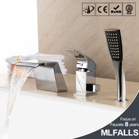 Waterfall bathtub faucet copper chrome body suit five holes with three piece bathroom faucet shower