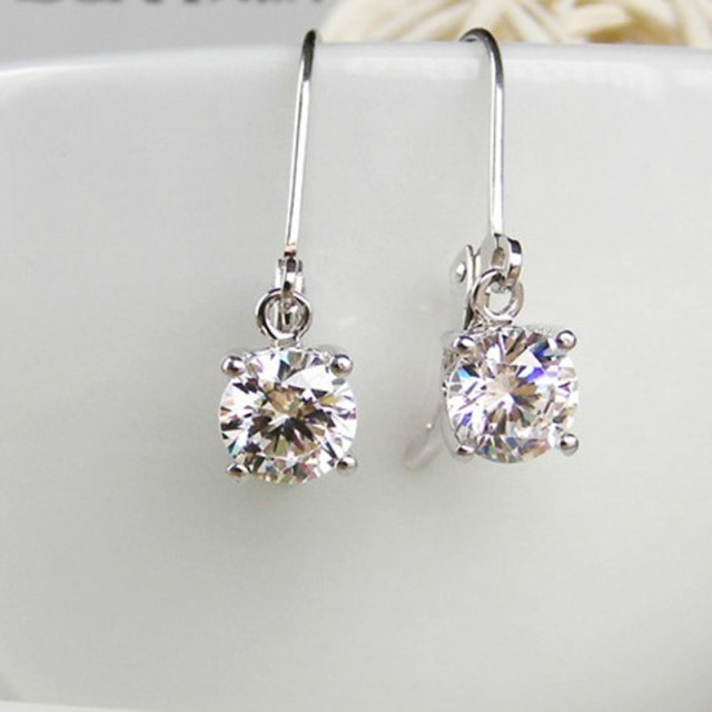 Whole 2ct Simulate Diamond Earrings Dangle Round Sterling Silver Earring Wedding Women Jewelry Hooked
