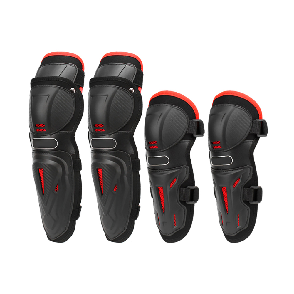 4pcs Motorcycle Kneepad Elbow Pads Skate Skiing Gear Sports Guards Motocross Racing Scooter Kneep Color : Black