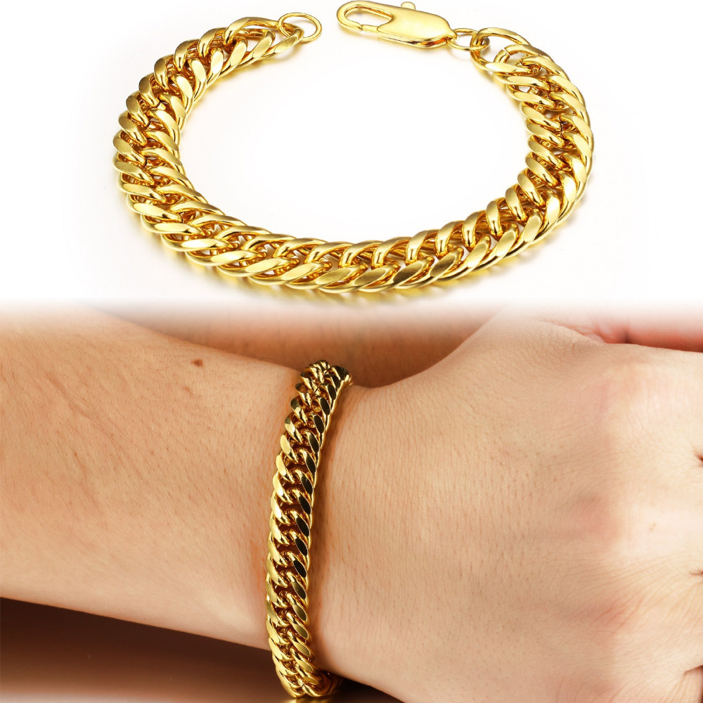 OPK Vintage Man Bracelets Luxury Gold Color Cuban Chain Bracelet ...