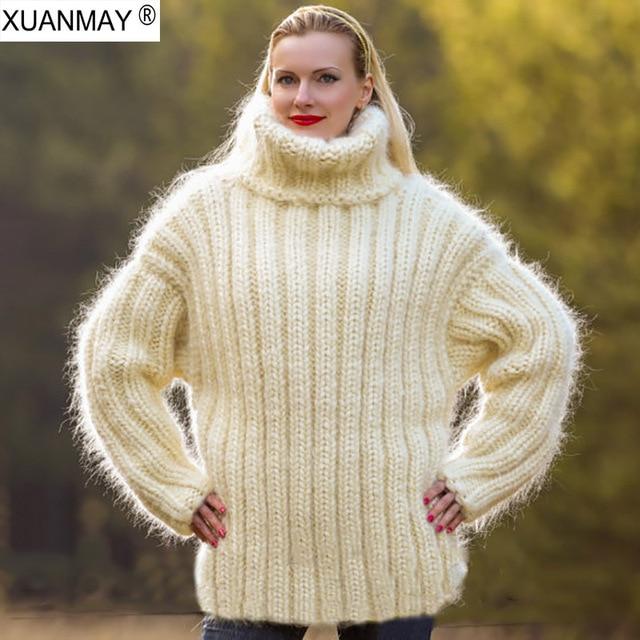 Thick warmth large size 5XL code women s winter Turtleneck Sweater fashion  handmade super thick Pullover Creamy-white Sweate 74e7da03a