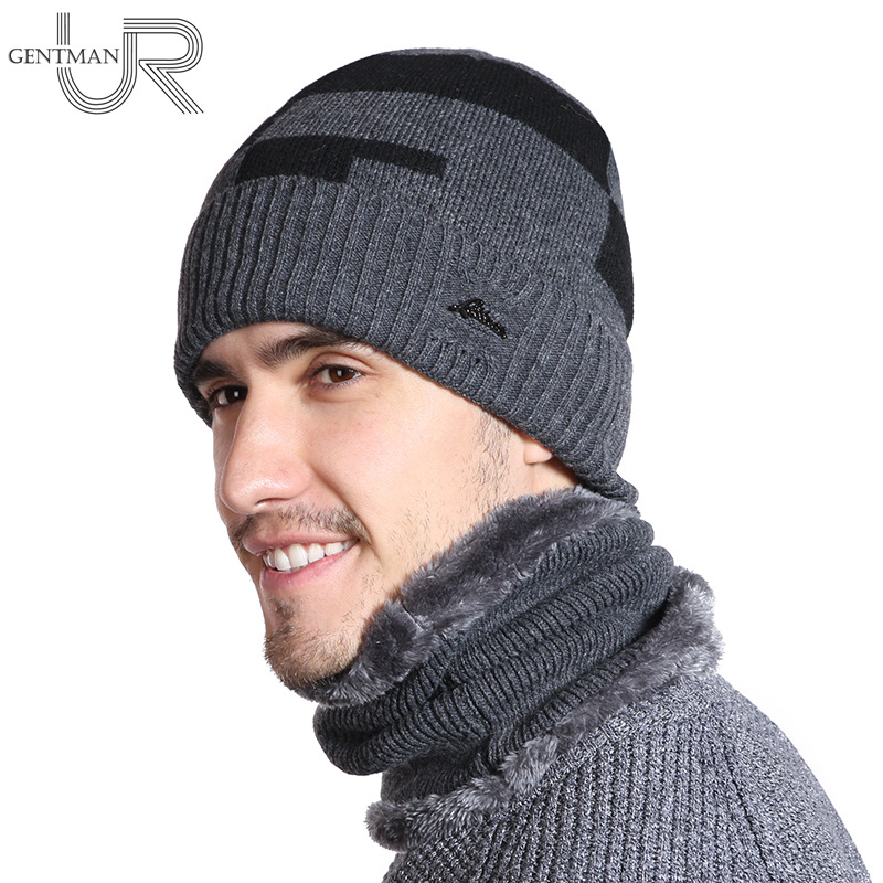 New Plus Velvet Winter Hat Men   Skullies     Beanies   Scarf Set Male Warm Wool Thick Knitted Hat Splice Design   Beanies   For Men