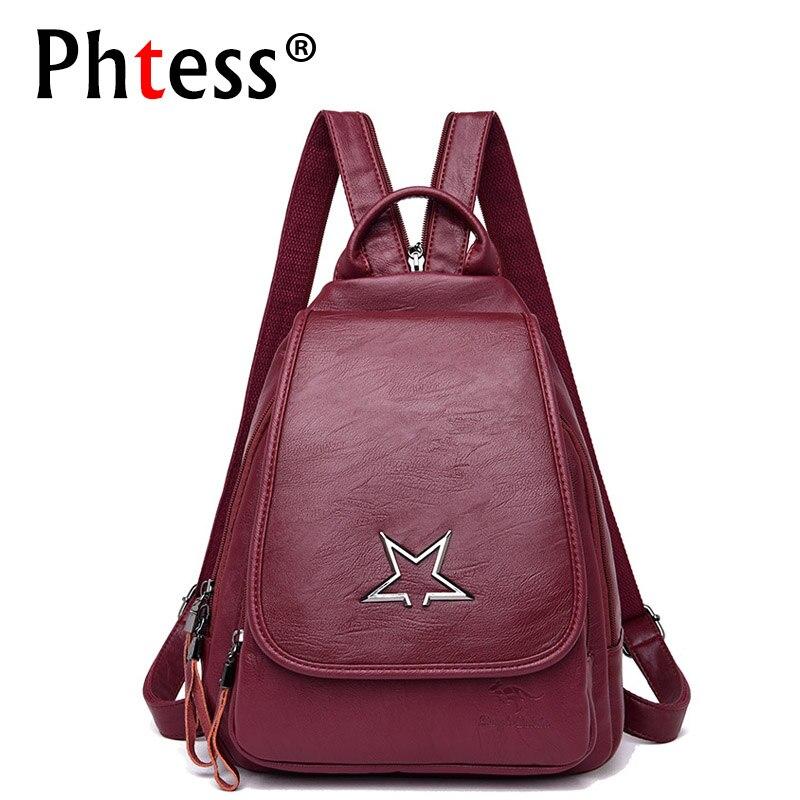 2018 Women Backpack High Quality Leather Backpacks For Teenage Girls Mochilas Vintage Bagpack Ladies School Bags For Girls New цена в Москве и Питере