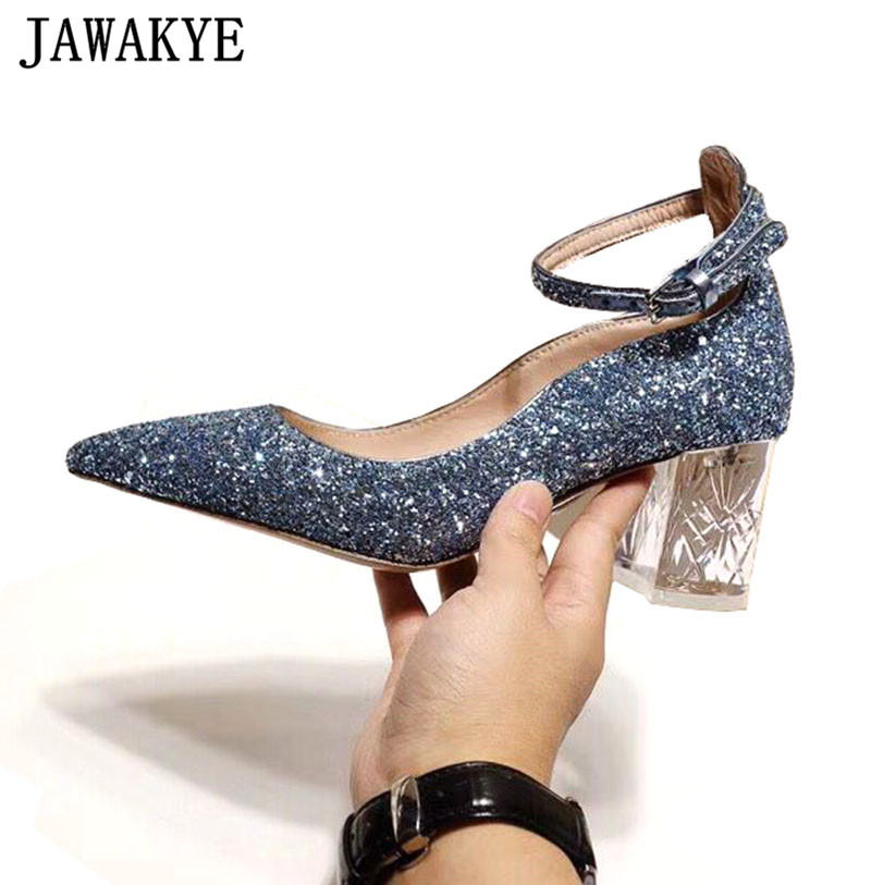 Bling bling sequins decor pumps women clear crystal high Heel ankle strap 2018 genuine leather glittery wedding Pumps ladies Bling bling sequins decor pumps women clear crystal high Heel ankle strap 2018 genuine leather glittery wedding Pumps ladies