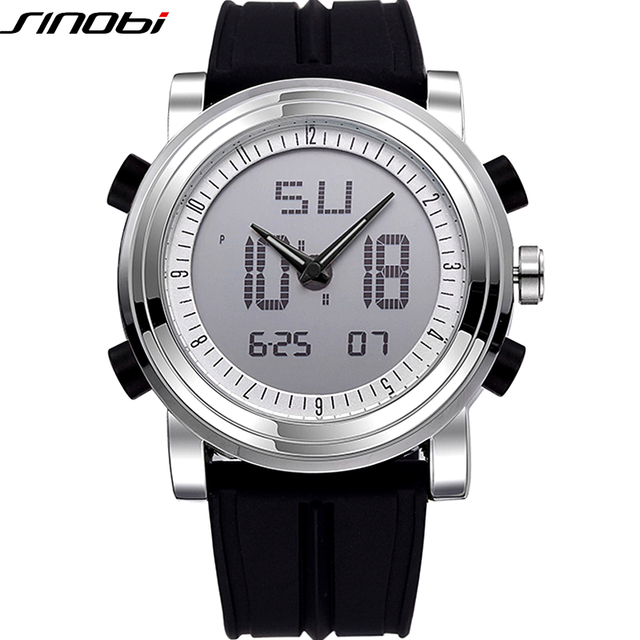 New SINOBI Brand Sport Watches For Men Waterproof Silicone Male Clock Digital Watch Men LED 2016 Luxury Watch Men Black Military