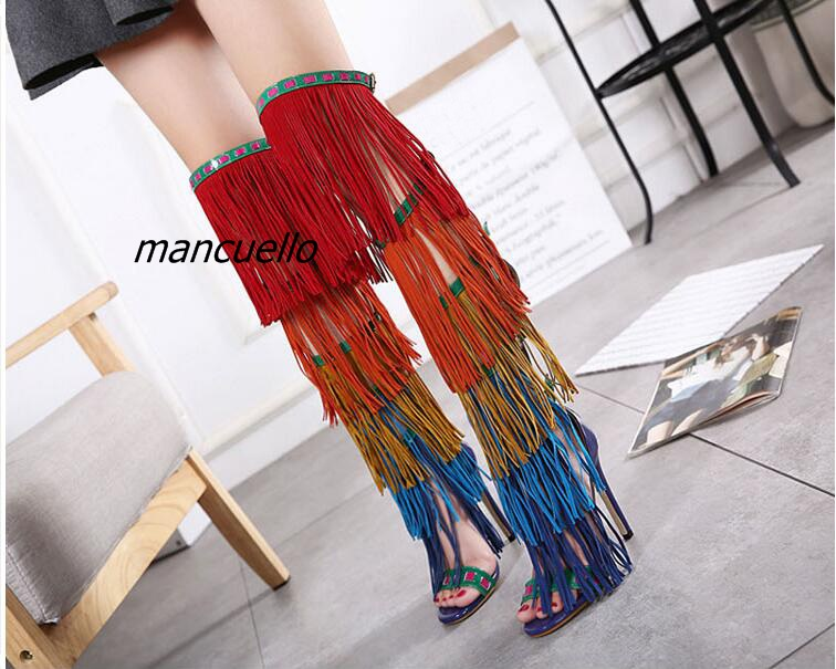 Fancy Buckle Style Fringe Cut-out Keen High Sandal Booties Classy Color Matched PU Spike Heel Sandals Fashion Tassel Stage Shoes цена и фото