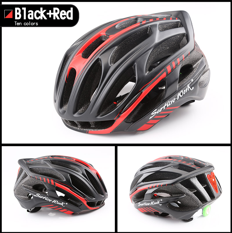 Cycling Helmet Integrally-molded Bicycle Helmet Road Mountain MTB Bike Ultra light Helmet With LED Lights Glasses Bike Equipment (4)