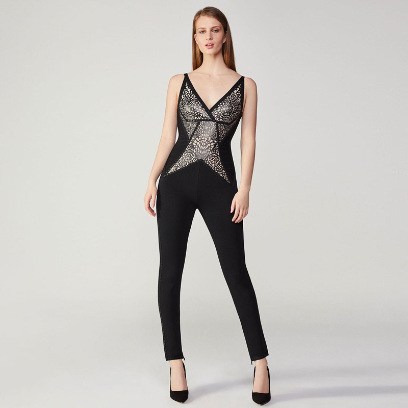 Salopette Profond En Mode Manches Noir Qualité Club Col Sexy Gros Femmes Haute Combinaisons Party V 2018 Sans Moulante Rayonne Bandage PBzEn1wzq