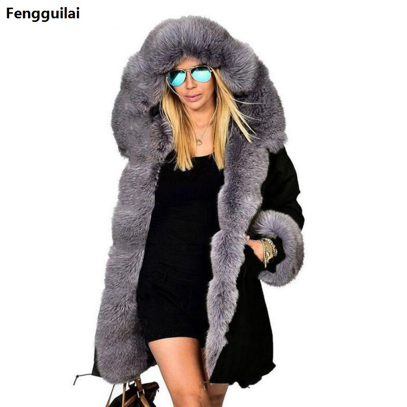 Thickened Warm camouflage Faux Fur Fashion Warm luxury Women Hooded Long Winter Jacket Coat Overcoat Top plus size XXXL