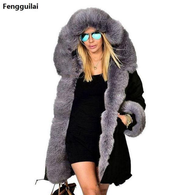e8102028c7cf Thickened Warm camouflage Faux Fur Fashion Warm luxury Women Hooded Long Winter  Jacket Coat Overcoat Top plus size XXXL