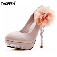 Size 35 43 Women High Heel Shoes Wedding Bridal Flower Platform Heeled Escarpin Lady Pumps Fashion