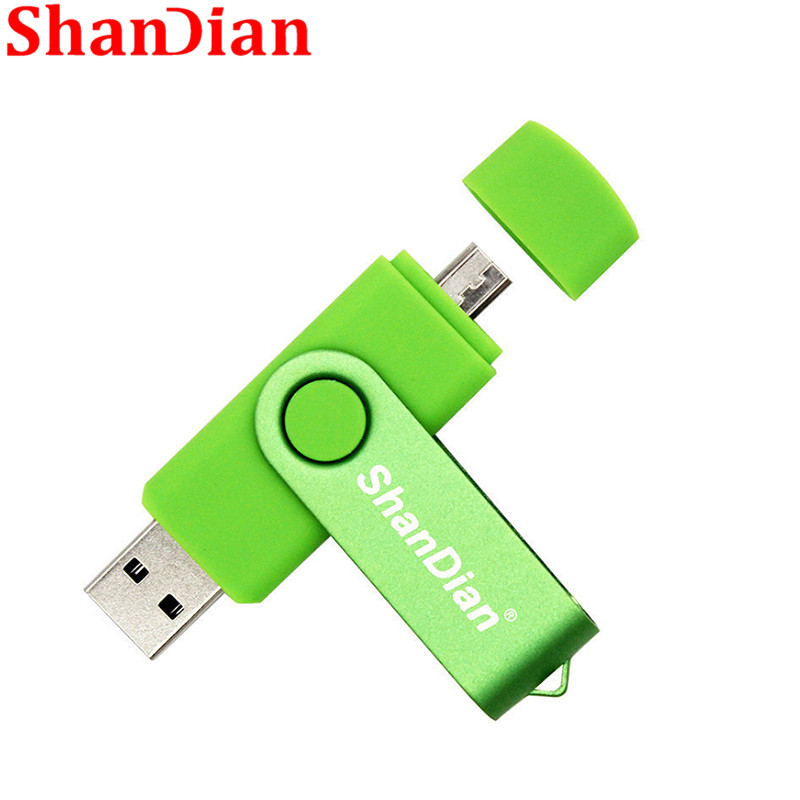 SHANDIAN New Real Capacity Flash OTG High Speed Drive 64GB 32GB 16GB 4GB USB2.0 External Storage Double Application Fashion Gift