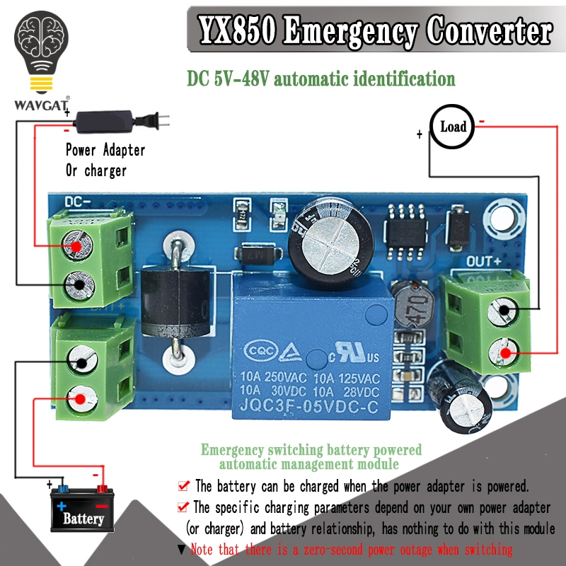 YX850 Power Failure Automatic Switching Standby Battery Lithium Battery Module 5V-48V Universal Emergency Converter JY-850