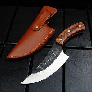 Image 3 - EVERRICH JapaneseHigh stal węglowa nóż obozowy kucie nóż ręcznie przez szefa kuchni tang, w plasterkach z nożem kuchennym, nóż rzeźnicki