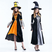 2017 New Halloween Women Witch Cosplay Dress Party Props Adult Solid Halloween Costume Hat Dresses Long
