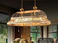 Бесплатная доставка латунный подвесной подсвечник AC90 260V 10 дужек лампы стеклянный абажур Медный кулон из материала для комнаты, Подвесная л