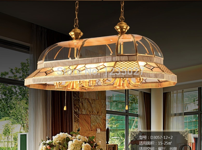 Free shipping Brass Candle Pendant AC90-260V 10 Arms Lamps Glass Lampshade Copper Material Pendant Living Room Pendant Lamp