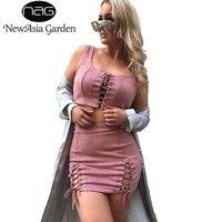 NewAsia Garden 2 Piece Sets Sleeveless Women Lace Up Tank Tops Suede Pencil Dress Summer Sexy