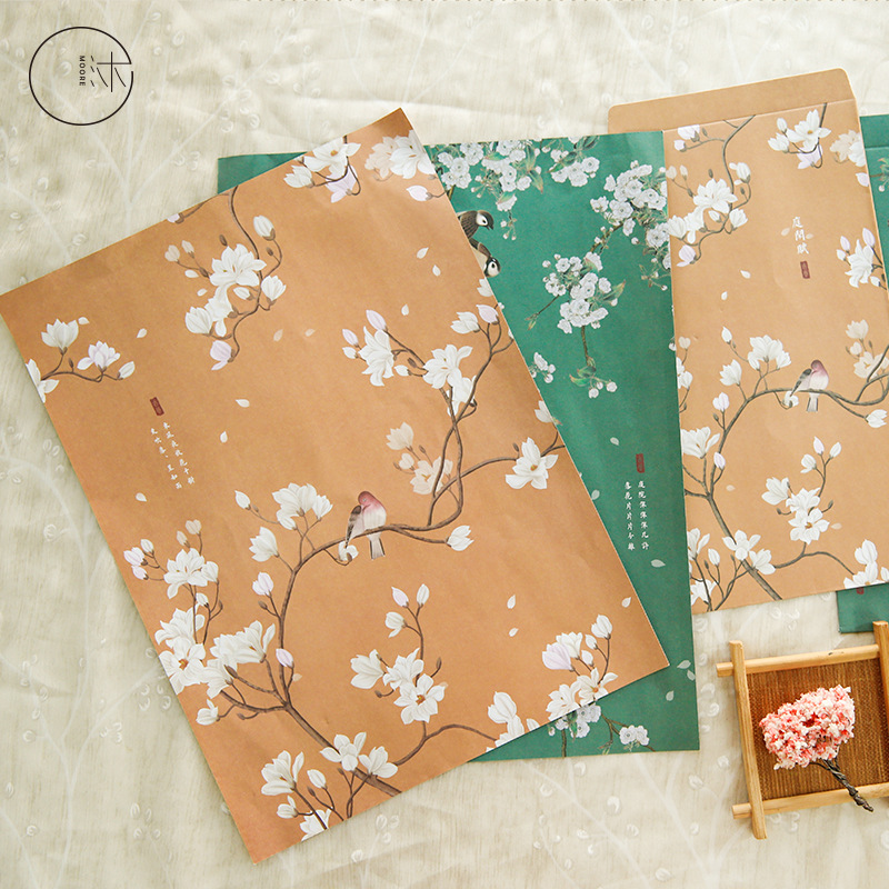 9Pcs/Set 3 Envelopes + 6 Letter Cute Flower And Bird Series Envelope Writing Paper Gift Stationery