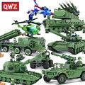 QWZ Serie Militar Tanque de Batalla Principal T-90A Ejército Coche Pistola Modelo Bloques de Construcción Ensambladas Ladrillos Niños Juguetes Educativos Regalos