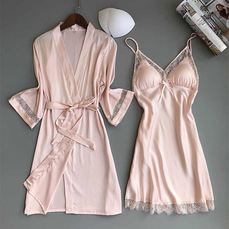 Сексуальное женское кимоно из вискозы, банный халат, белый свадебный халат невесты, кружевной пеньюар с кружевной отделкой, Повседневная Домашняя одежда, ночное белье