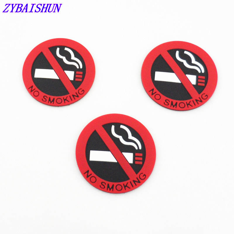 "Car 3Pcs Rubber "" No Smoking "" Warning Sign Labels Decals"