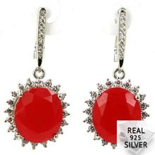 Real 9.7g 925 Solid Sterling Silver Ravishing Blood Ruby, CZ Womans Earrings 37x17mm