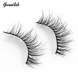 Genailish Mink Eyelashes Natutal Extensions Lashes Handmade Mink Fur False Eyelashes For Makeup 1 Pair Pack A17