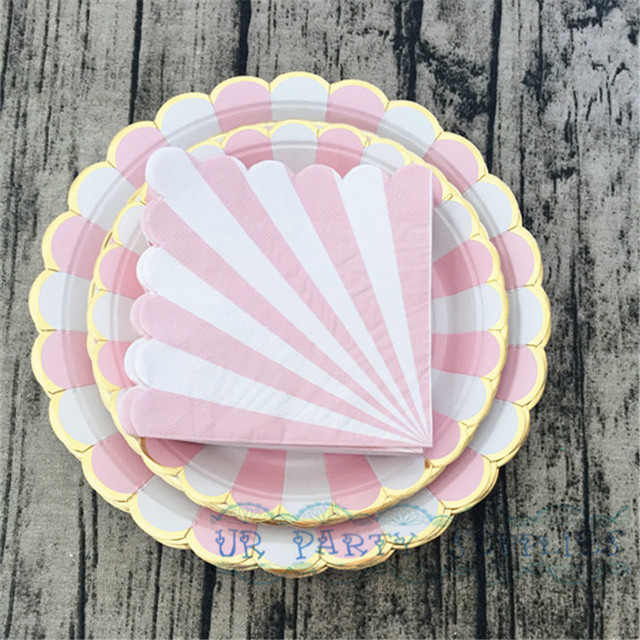 80 Sets Gold Paper Ware 9inch 7inch Paper Plates Party Tableware