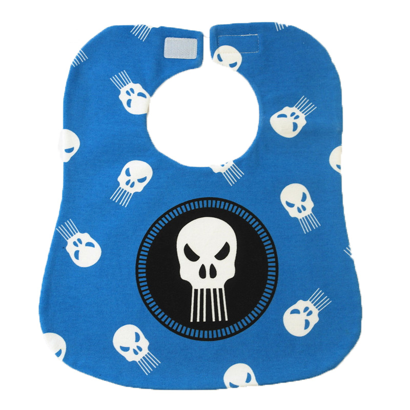 New Hook&Loop Baby Boy Bibs Cartoon Skull Stars Baby Slabbers 100% Cotton Scarf Bibs Bandana Burp Cloths Three Layers Moms Care