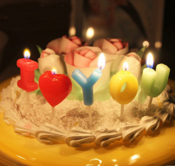 20 Sets High Quality Colorful I Love You Birthday Candles Cake
