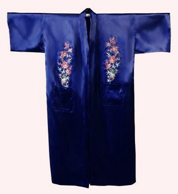 Venda quente azul de cetim de seda bordado Robe pijamas banho Kimono vestido com tamanho de bolso sml XL XXL XXXL M4S002